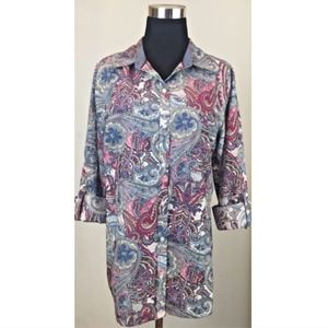 NWT Charter Club Paisley Button Shirt Relax Fit